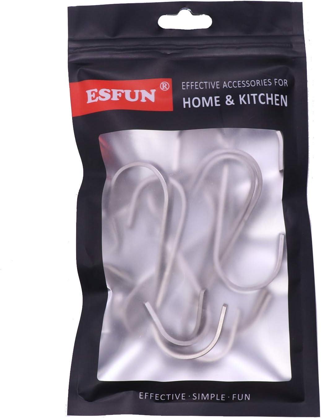 Esfun 20 Pack Size Medium 3 inch Flat S Hooks Heavy Duty Solid 304 Stainless Steel S Shaped Hanging Hooks,Metal Kitchen Pot Pan Hangers Rack Hooks