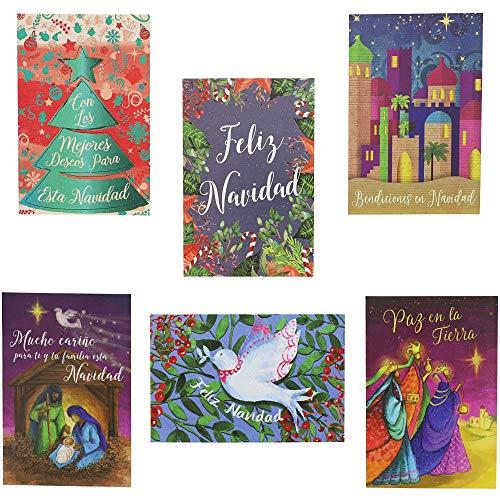 Sustainable Greetings Feliz Navidad Spanish Christmas Cards with Envelopes, Blank Inside (4 x 6 in, 48 Pack) (Cards Spanish Sayings Christmas In)