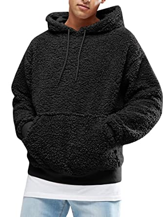 Men s Hooded Sherpa Fleece Sweatshirts Fuzzy Hip-pop Oversized Pullover  with Kangaroo Pockets Black 1026dad6e