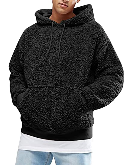 d3604454 Mens Sherpa Pullover Hoodie Pebble Pile Fleece Oversized Sweatshirts  Pockets Outfits Fuzzy Fluffy Kangaroo Outwear