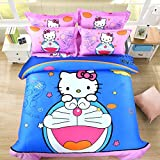 CASA Children 100% cotton series Doraemon and Hello Kitty Duvet cover & Pillow cases & Fitted Sheet,4 Pieces,Full