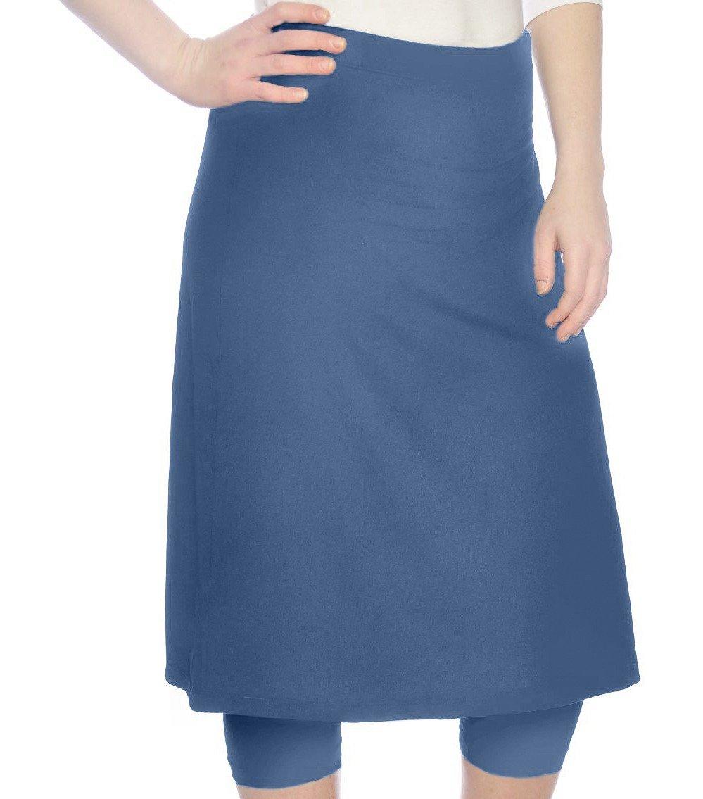 Kosher Casual Women's Modest Knee Length Sports Skirt with Leggings 2XL Jeans Blue
