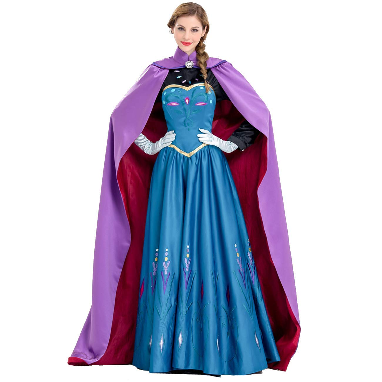 AQTOPS Women Princess Snow Queen Costumes Halloween Role Play Outfits, Purple, Medium