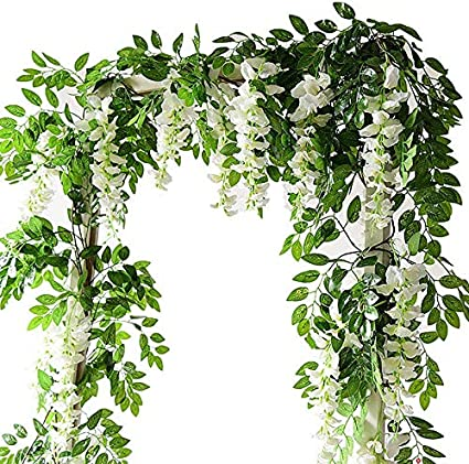 Lanyifang 2pcs Flores Artificiales de Seda Wisteria Garland Artificial Wisteria Vine Flor Colgante para Decoración de Hogar Jardín al Aire Libre Ceremonia Boda Floral Decor (Blanco): Amazon.es: Hogar