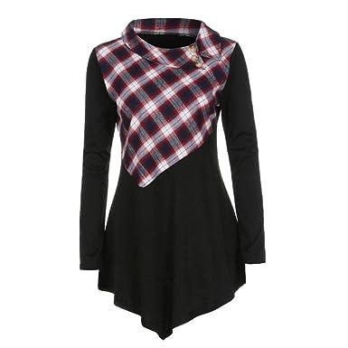 3793954a9bb Toamen 2018 New Fashion Women Girls Plaid Stitching Turn-Down Collar Irregular  Long Sleeve Lightweight Casual T-Shirt Blouse Tops Dress  Amazon.co.uk  ...