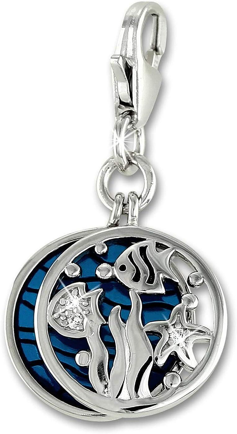 Colgante de pulsera SilberDream para acuario, con circonita azul, plata 925 FC901T