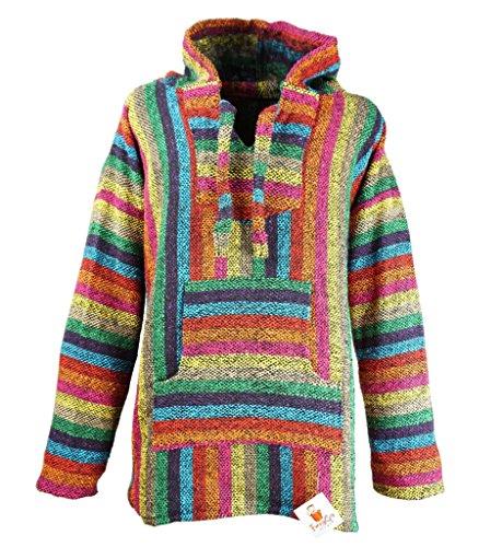 Funny Guy Mugs Premium Baja Hoodie Sweatshirt Pullover Jerga Poncho (Fireworks, (Guy Hippie)