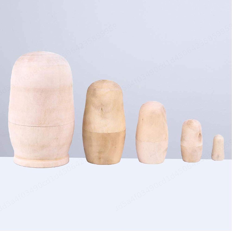 KANGIRU 5pcs Mu/ñecas artesanales de Madera sin Pintar anidaci/ón Rusa DIY Matryoshka Dolls