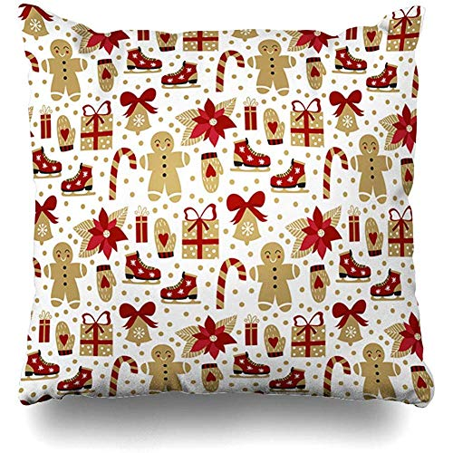 - Throw Pillows Covers Cushion Case Ornamental Red Pattern Christmas Carto Gingerbread Candy Presents Holly Holiday Vintage Colors Ribbon Home Decor Pillowcase Square 18 x 18 Inches
