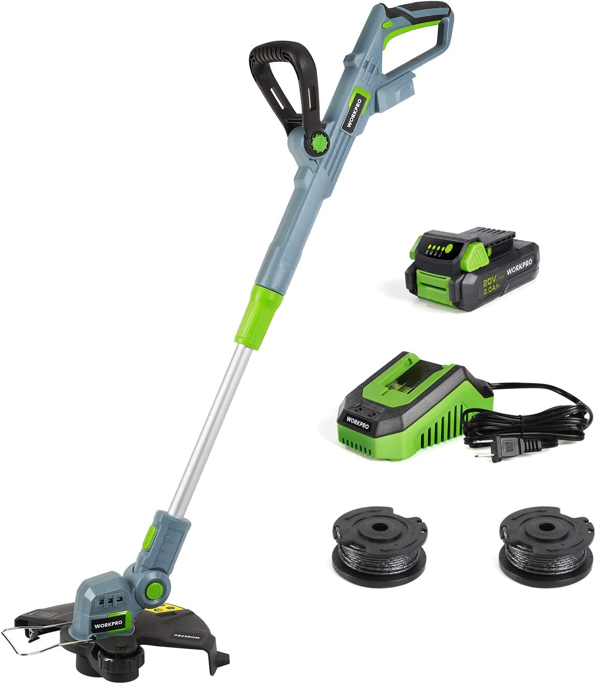WORKPRO 20V Cordless String Trimmer/Edger, 12-inch, with 2Ah Lithium-Ion Battery, 1 Hour Quick Charger, 16.4ft Trimmer Line Included