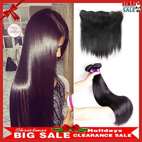 JiSheng Brazilian Human Hair Bundles With Closure Ear To Ear Lace Frontal Closure 8a Brazilian Virgin Hair With Closure Straight Bundles Natural Color (18 20 22 +16)