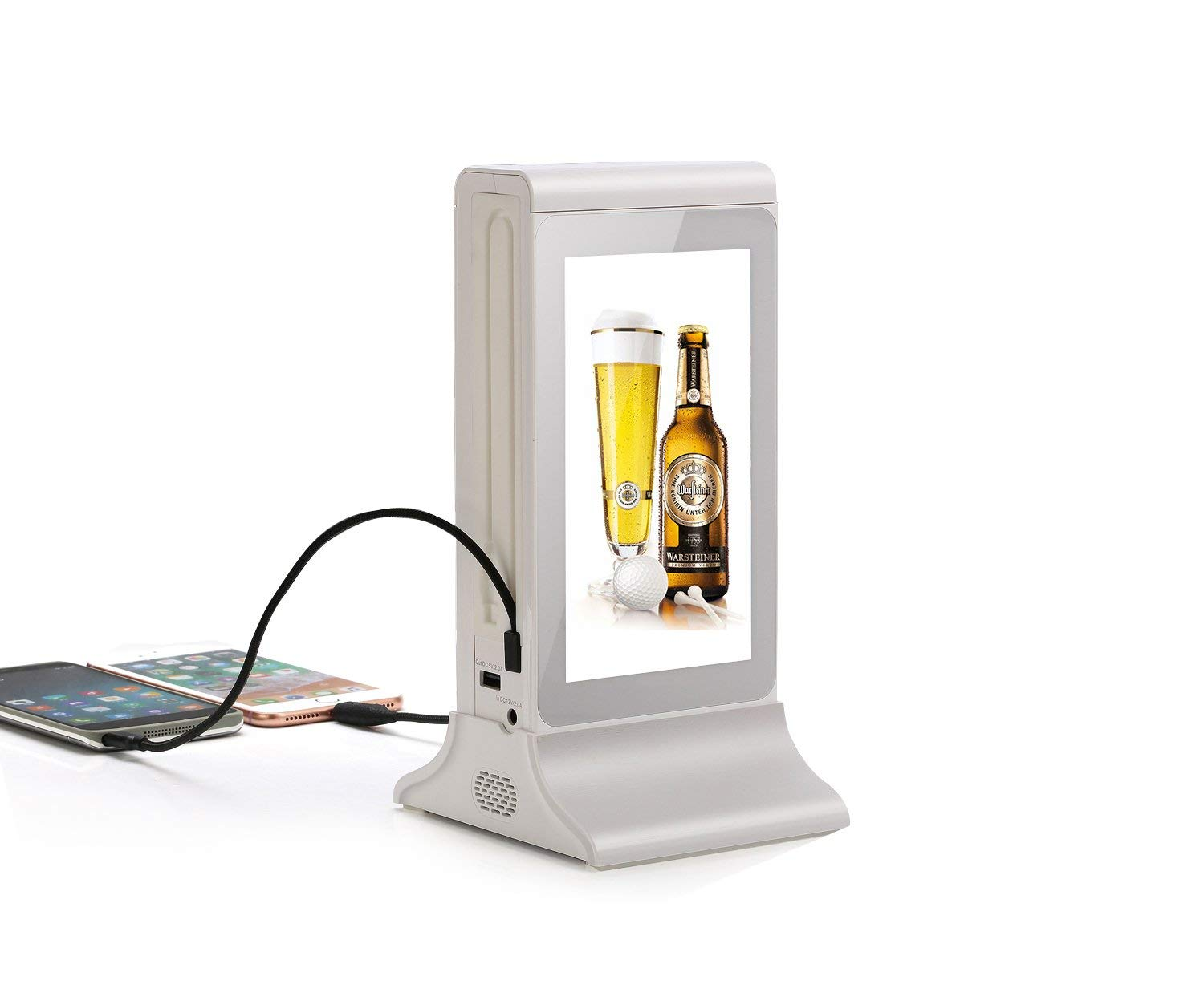 PowerSign FYD-835S WiFi Table Advertising Player Single LCD/Restaurant Menu/Charging Station FYD835S (White)