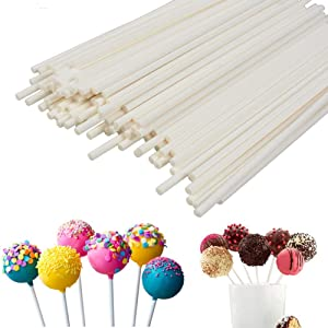 Lollipop Sticks 100Pcs Candy Making Sucker Sticks 6 Inch for Cake Pop,DIY Homemade Fruit Candy,Chocolate