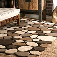 nuLOOM Contemporary Handmade Wool Pebbles Cobblestone Area Rugs, 2 x 3, Natural