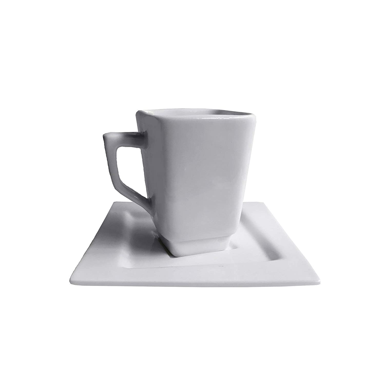 Vie Belles LH746-90 Square Collection 90 ml Porcelain Espresso Cup & Saucer Set, White