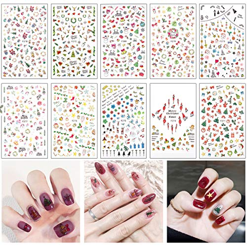 Madholly 1000+ Designs 3D Design Self Adhesive Christmas Nail Art Stickers Decals Tattoo Manicure Decoration for Fingernails Toenails Nail Tips