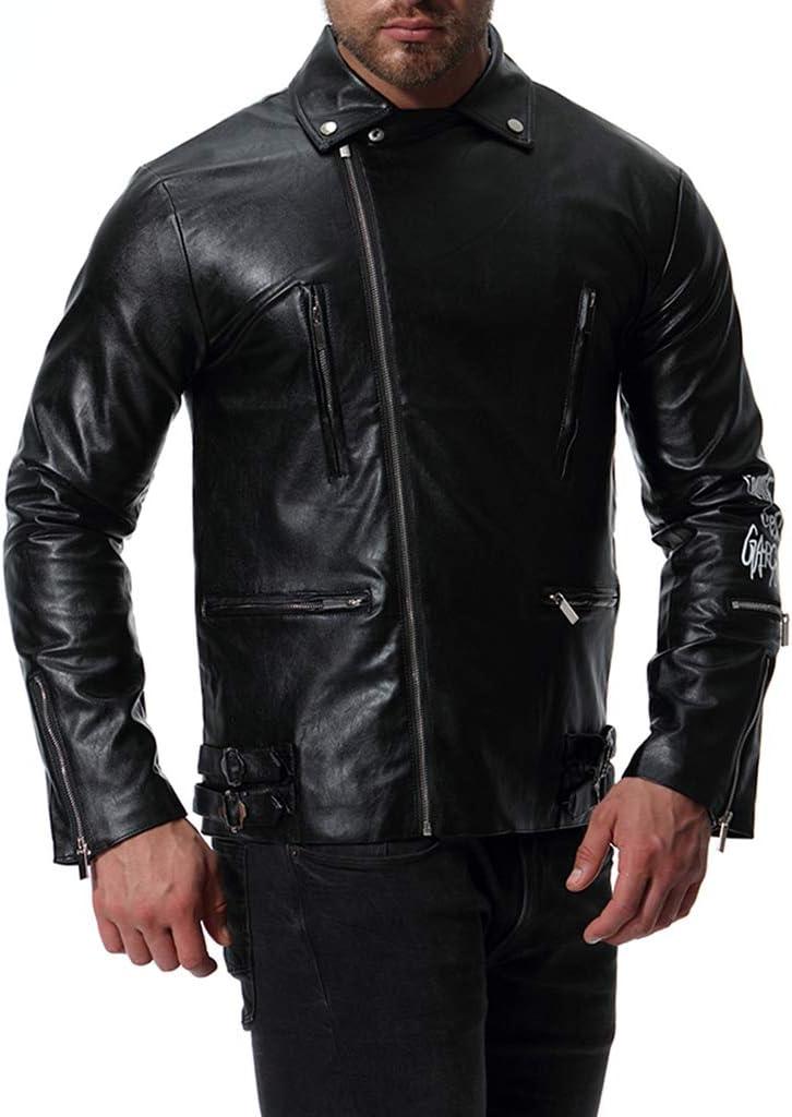 LIXIYU Chaqueta Motera de Cuero para Hombre Chaqueta de Cuero de Motocicleta Estampada con Cremallera múltiple Chaqueta Casual de Moda Abrigo de Gran tamaño