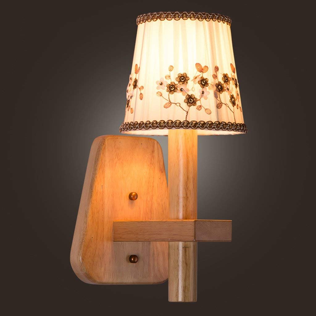 XIN Modern Warm Cloth Nordic Bedside Lamp Living Room Bedroom Lamp Restaurant Aisle Wooden Japanese-Style Lamps New