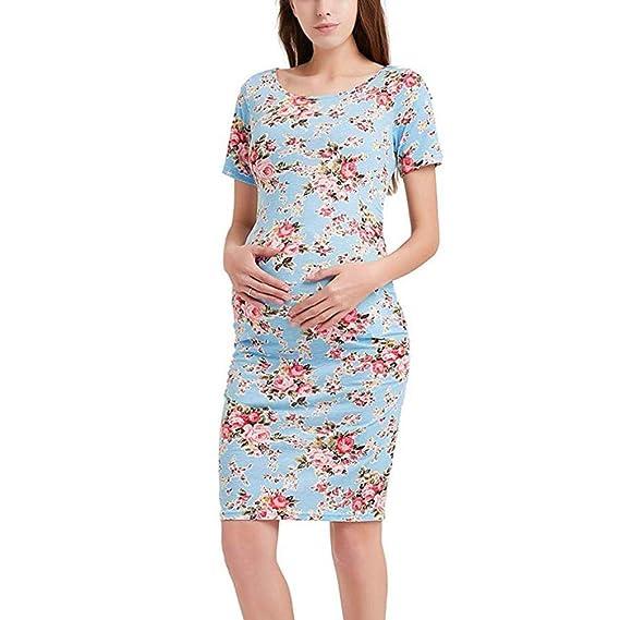BBsmile Ropa premamá Embarazo de Las Mujeres Vestido Estampado Floral Maternidad Manga Corta Ropa de Sundress