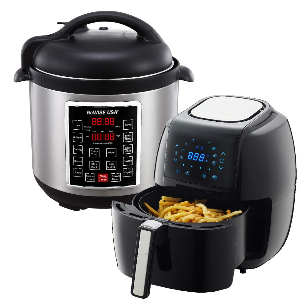 GoWISE USA 3.7-Quart 8-in-1 Digital Touchscreen Air Fryer (Black, GW22921) + Recipe Book AND GoWISE USA 8-Quart 10-in-1 Electric Pressure Cooker (Stainless Steel, GW22623) + Recipe Book