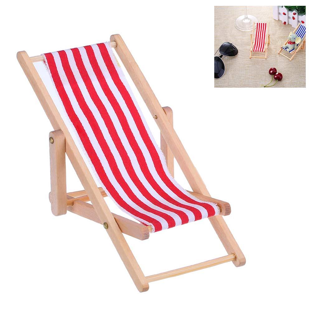 Surenhap 1:12 Sedia a Sdraio da Spiaggia per casa delle Bambole Accessori da Giardino Verde