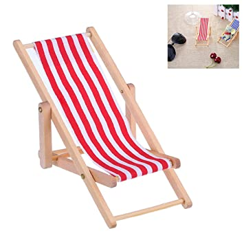 18fdb404c7e Image Unavailable. Image not available for. Colour  1 12 Mini Beach Lounge  Chair Dollhouse Miniature Chairs Kids Toy Furniture Folding ...