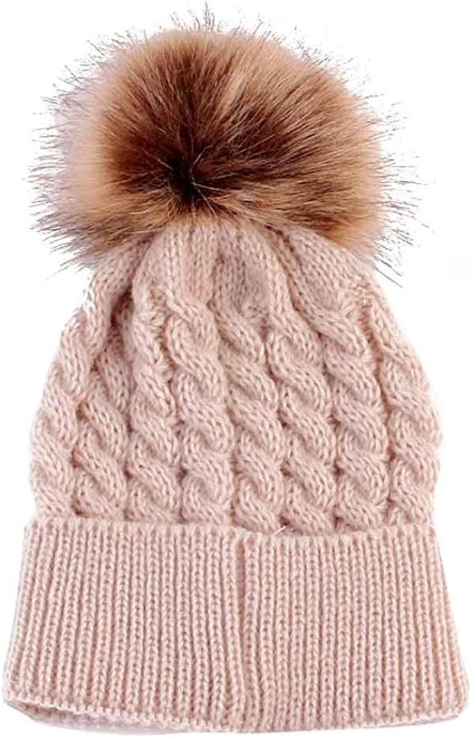 Gemini/_mall/® Cute Baby Kids Newborn Hats Winter Knitted Hat Cap with Pom Pom