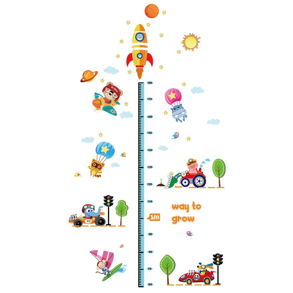 Winhappyhome Rocket Space Children's Height Measurement Chart Wall Art Stickers for Kids Bedroom Nursery Coffee Shop Background Removable Decor Decals