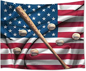 HVEST Baseball Tapestry American Flag Tapestry Wall Hanging Sport Tapestries for Boys Bedroom Living Room Dorm Party Decor Baseball Sports Backdrop, 60Wx40H inches