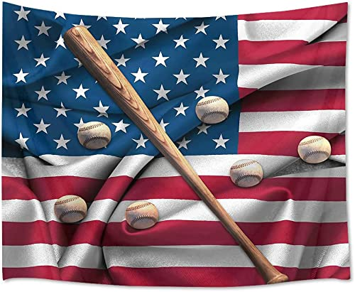 HVEST Baseball Tapestry Bat and Balls on American Flag Wall Hanging Sport Tapestries for Boys Bedroom Living Room Dorm Party Decor,92.5Wx70.9H inches