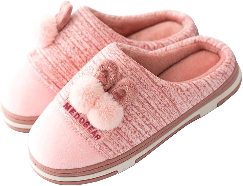 Women House Slipper,Jchen Ladies Comfy Cute Cartoon Ear Plush Home Slippers Anti-Skid Indoor Bedroom Winter Warm Shoes