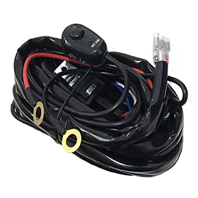 AutoSonic LED Wiring Harness Heavy Duty 14 gauge wire kit up to 300 Watts for LED Light Bar Work Light, 12V 40A Relay, Fuse and On-off switch button included: Automotive