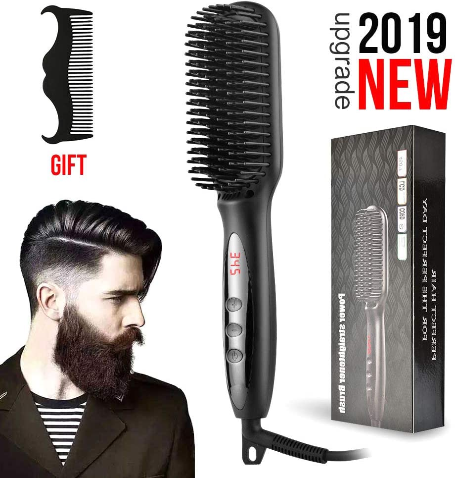 Men Quick Beard Straightener Comb, Electric Hair Curling Curler Brush Wet and Dry Dual Use Anti Scald Ceramic Ionic Hair Brush For All Hair Types