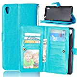 """Xperia Z5+ Z5Premium Case,Gift_Source [Blue] Wallet Premium PU Leather Folio Book Style Multiple Card(9) Slots Cash Pocket with Magnetic Snap Flip Case Cover for Sony Xperia Z5 Premium / Z5 Plus 5.5"""""""