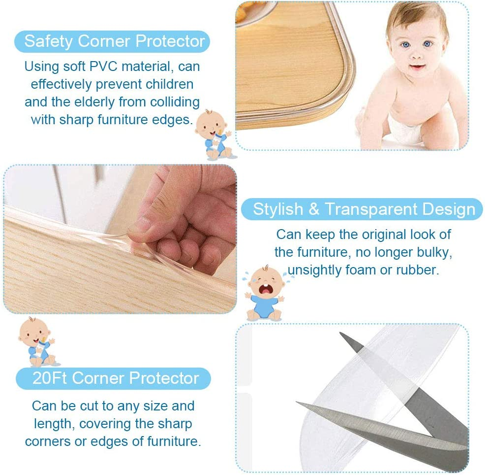 PERFETSELL Table Edge Protector Corner Protector for Kids 20Ft Table Corner Guards Transparent Safety Bumper Tape PVC Baby Proofing Corner Guards with 42.7Ft Adhesive Tape for Table Furniture