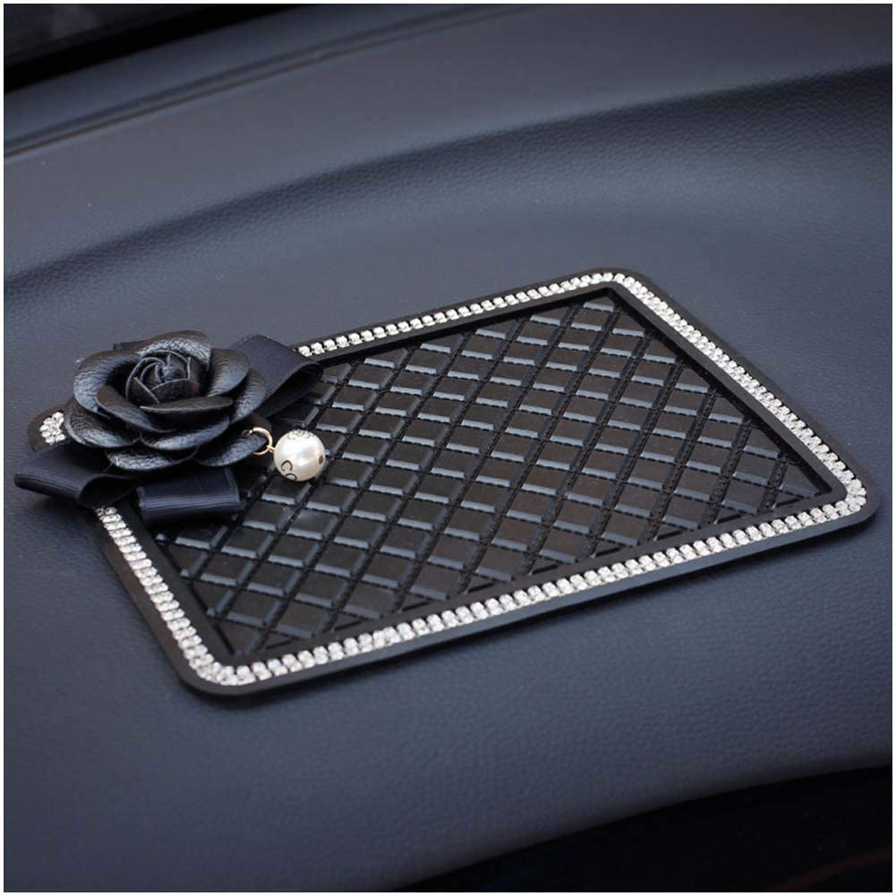 Coins and More Sunglasses Pursuestar Car Bling Crystal Extra Thick Sticky Anti-Slip Pad Non-Slip Dashboard Pearl Camellia Rose Flower Mat for Cell Phones Keys