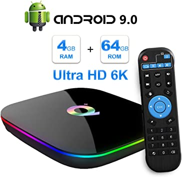 Android TV Box, 2019 TV Box Android 9.0 con 4GB RAM 64GB ROM H6 Procesador Quad
