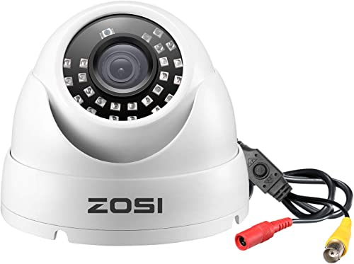 ZOSI 1080P Dome Security Cameras Hybrid 4-in-1 HD-Cvi Tvi Ahd 960H Analog Cvbs , 1920TVL Day Night Weatherproof Indoor Outdoor Dome Camera HD, Night Vision Up to 65Ft 20M