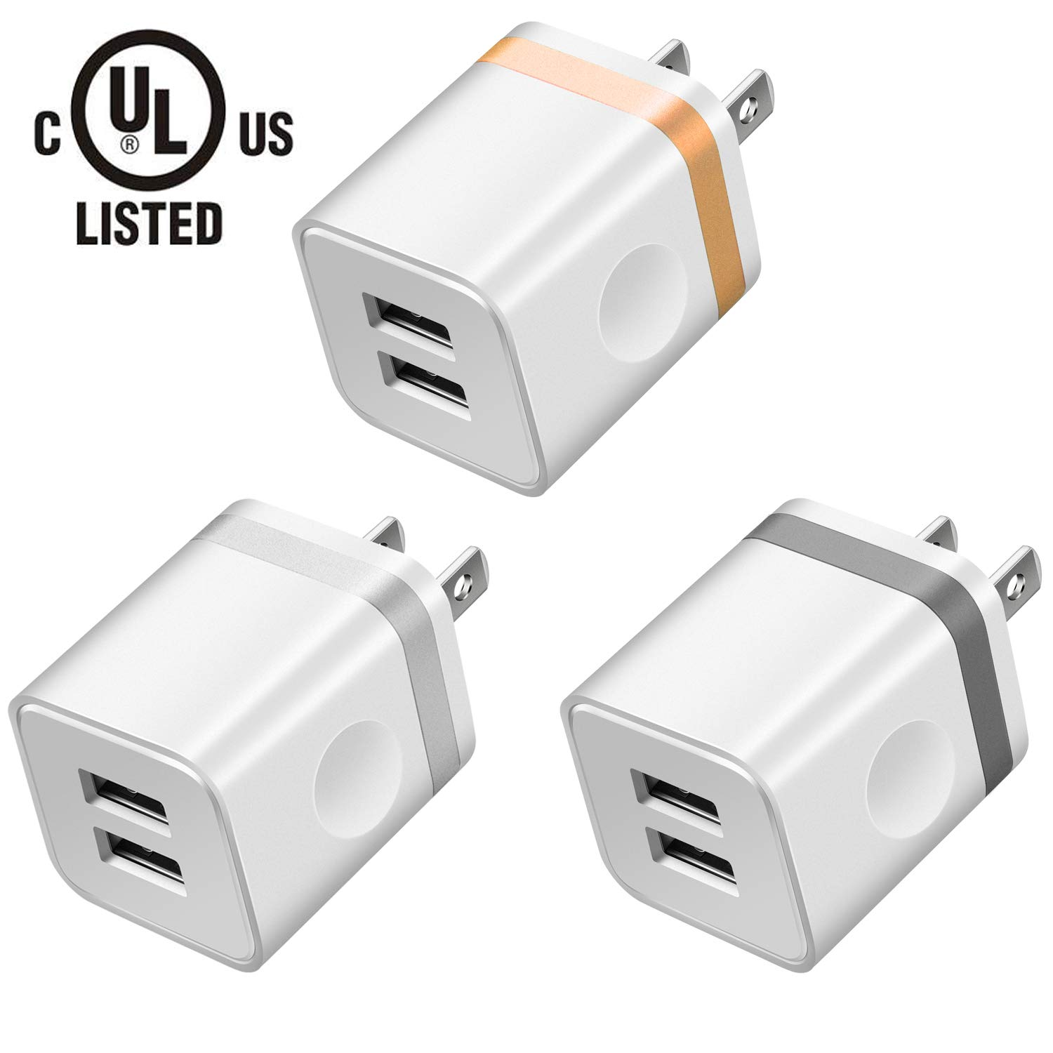 LEEKOTECH USB Wall Charger, [UL Certified] 3-Pack 2.1A USB Plug Dual Port Power Adapter Charging Block Cube for iPhone X 8 7 6 Plus 4 5S, iPad, Samsung Galaxy S5 S6 S7 Edge, Android Cell Phone