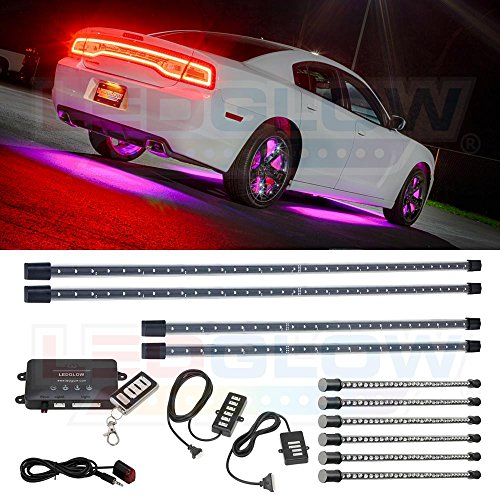 LEDGlow 10pc Pink Wireless LED Car Lighting Kit – 4 Underbody Underglow Tubes + 6 Interior Under Dash Tubes