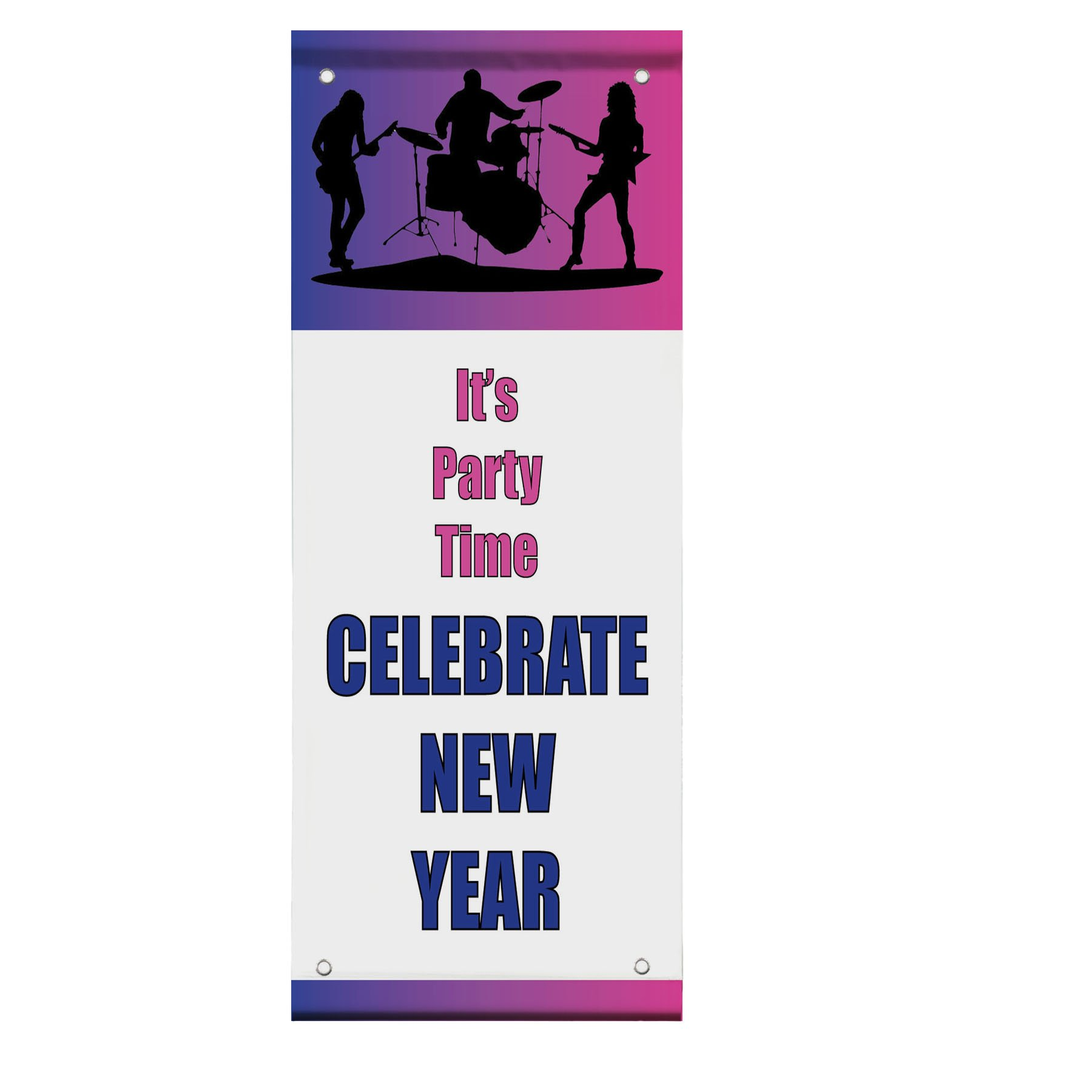 It'S Party Time Celebrate New Year Double Sided Vertical Pole Banner Sign 30 in x 60 in w/ Pole Bracket