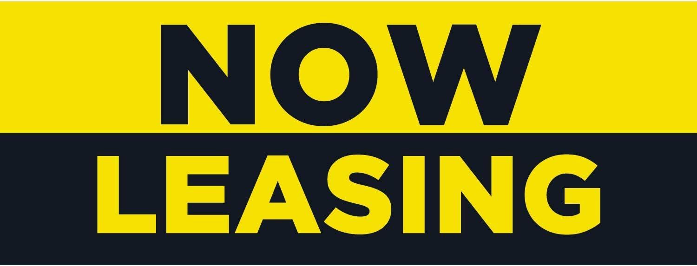 CGSignLab Now Leasing Basic Black Heavy-Duty Outdoor Vinyl Banner 12x4