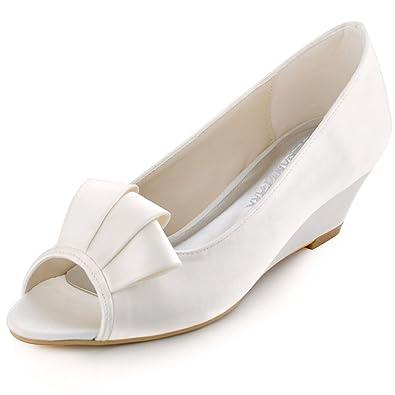 b79d6bd095e9d9 Elegantpark WP1518 Escarpins Femme Satin Talon Compense Bout Ouvert Chaussures  de Mariee Mariage Blanc 42