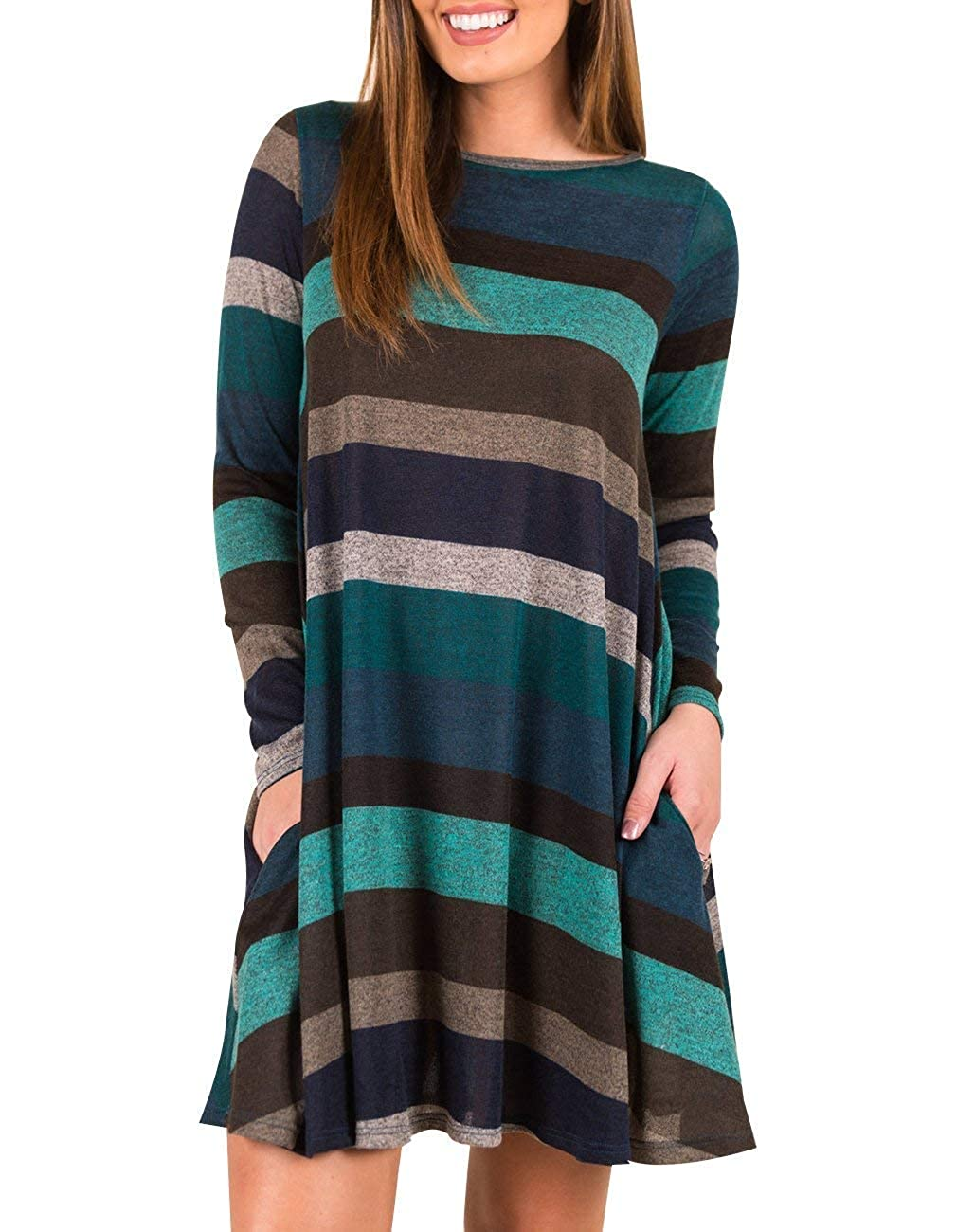 bluee BELLEZIVA Women Striped Tunic Dress for Leggings Casual Long Sleeve Swing Top Shirt with Pockets