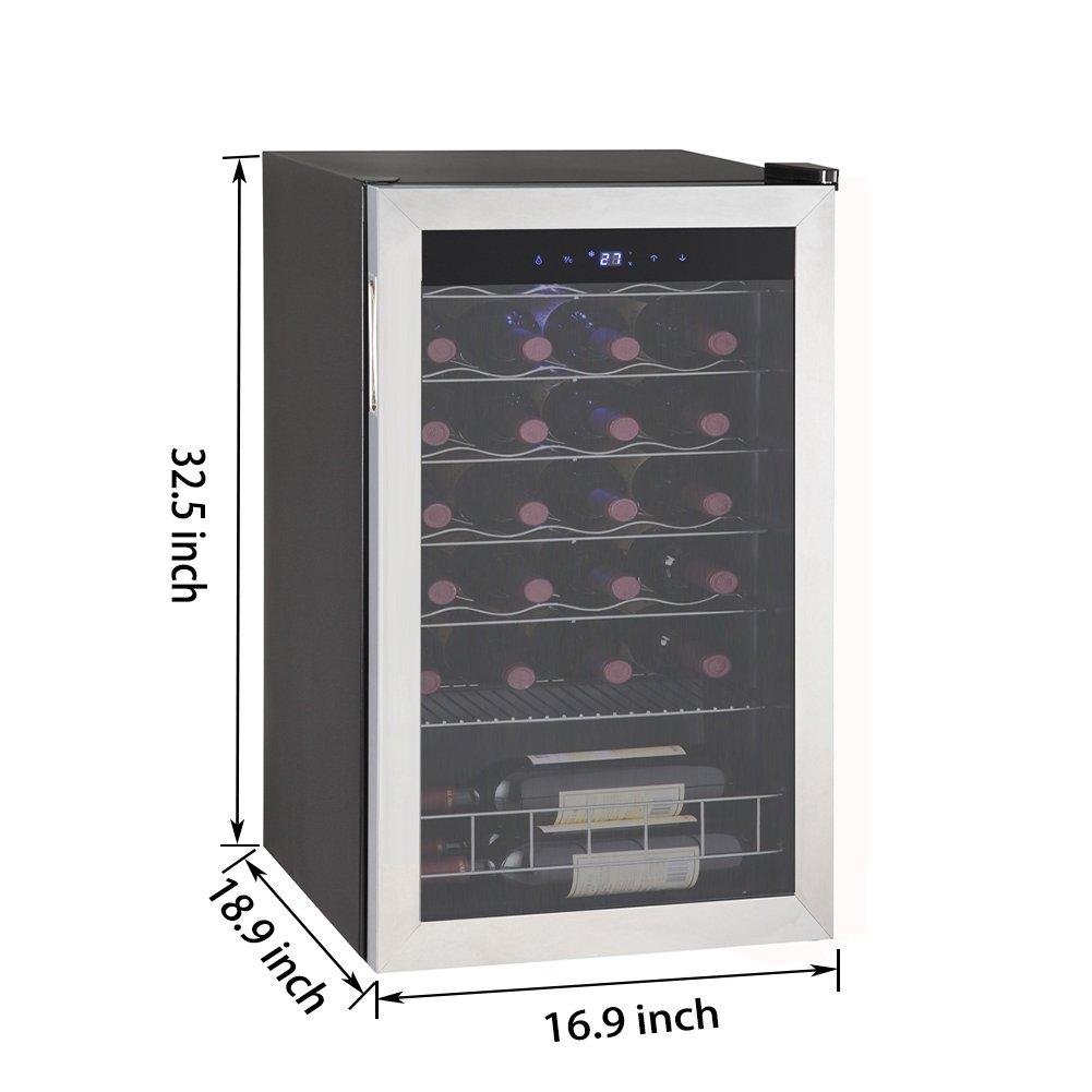 SMETA 28 Bottles Compressor Wine Cooler Refridgerator with LED Display Freestanding Wine Cellar Fridge,Stainless Steel