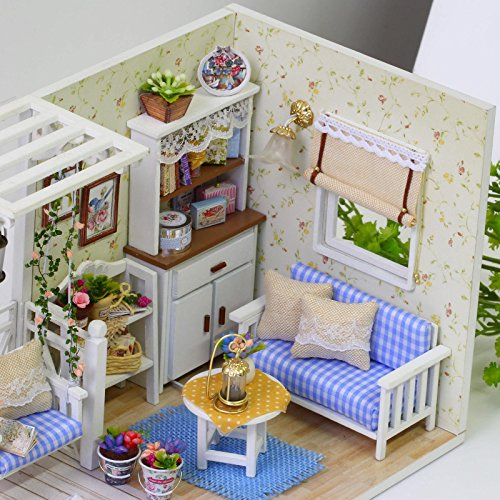 Ogrmar Wooden Dollhouse Miniatures DIY House Kit With Cover and Led Light-Cat Diary by Ogrmar (Image #2)
