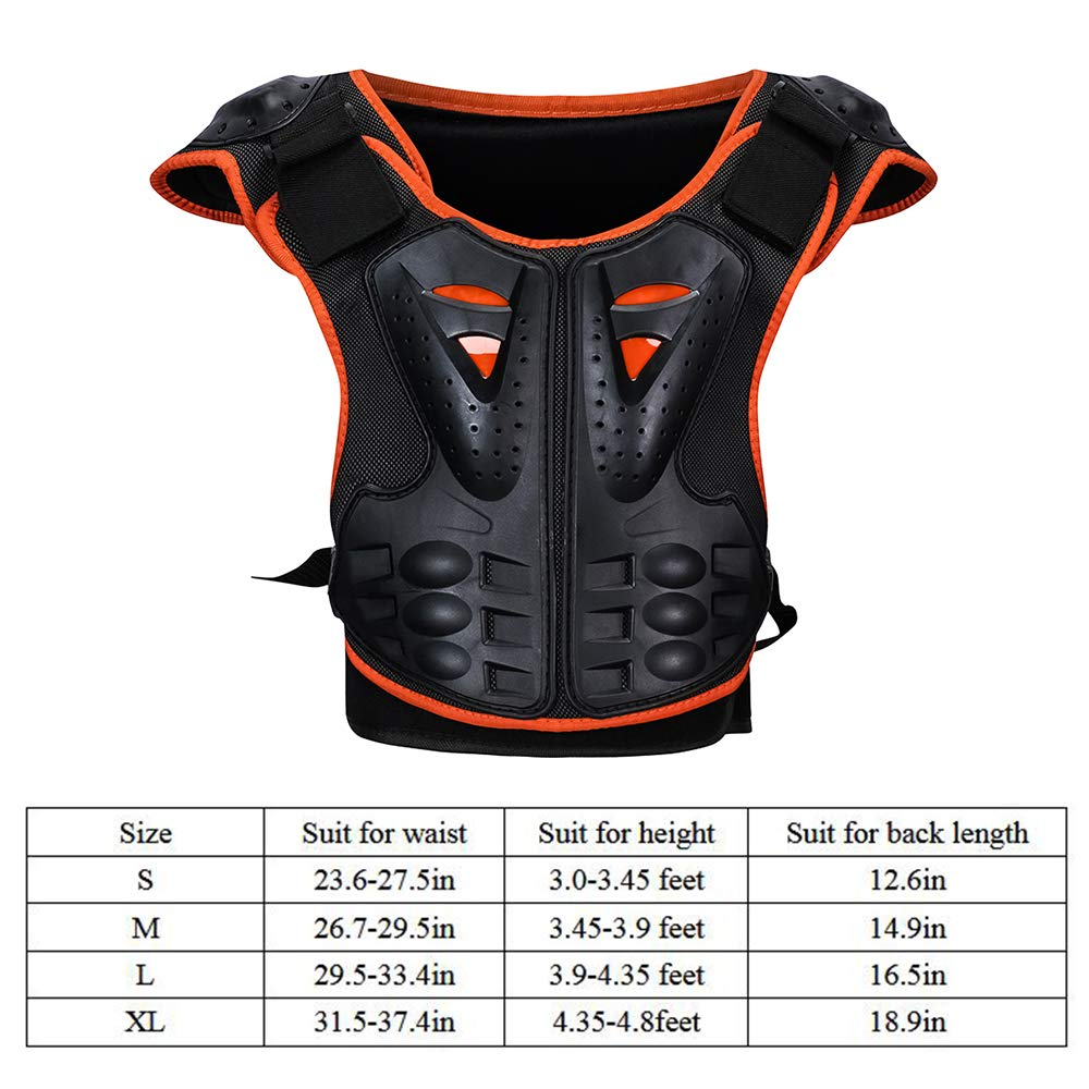 Kids Body Chest Spine Protector Armor Protective Vest Reflective Gear For Dirt Bike Skiing Skating Sport Size Medal by color tree (Image #6)