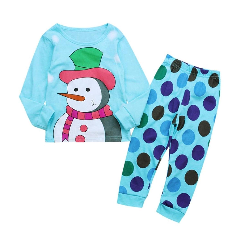 Winsummer Kid Boys Girls Cotton Snowman Tops+Dot Pants Christmas Family Matching PJS Outfit
