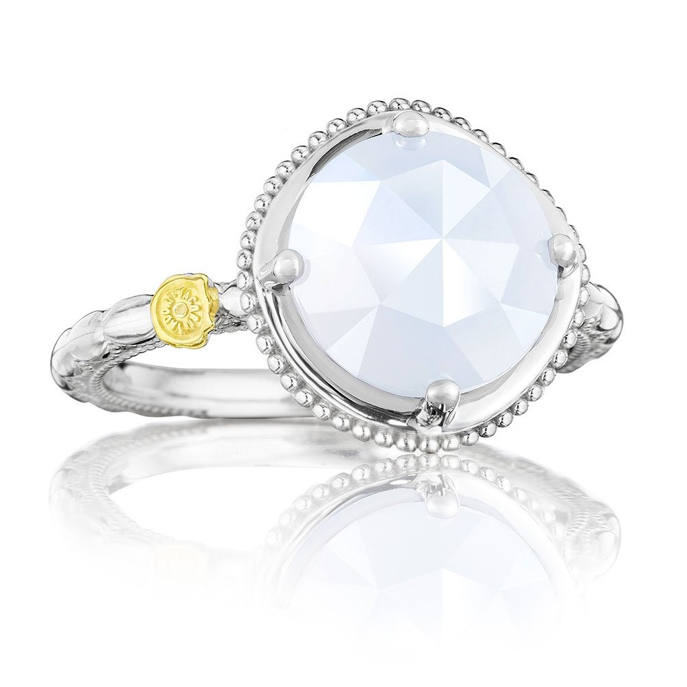 Tacori SR13503 Classic Rock Sterling Silver Chalcedony Bold Simply Gem Ring, Size 6