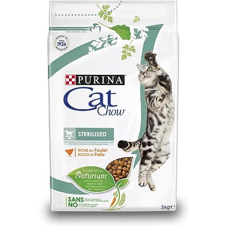Purina Cat Chow Comida Seco para Gatos Adultos Esterilizados Rico en Pollo - 3 Kg